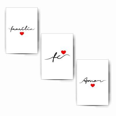 Família / Fé / Amor - Kit White