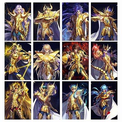 Kit 12 Placas Decorativas Cavaleiros do Zodíaco - Cavaleiros de Ouro