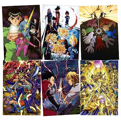 Kit 6 Placas Animes Variados 30x20cm - Promoção