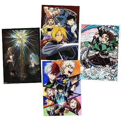 Kit 4 Placas Animes Variados 15x21cm - Promoção