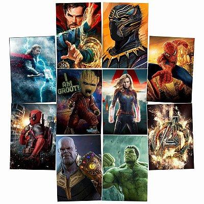 Kit 10 Placas Heróis Marvel 30x20cm - Promoção