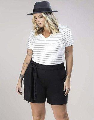 Blusa Malha Listrada Decote V Plus Size
