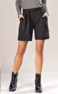 Shorts Malha com Cinto e Bolsos Laterais
