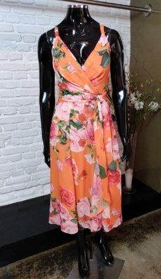 Vestido Midi Godê Chiffon Floral com Bojo