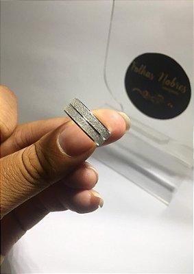 Par de Alianças Diamantanda com Friso - Prata 950