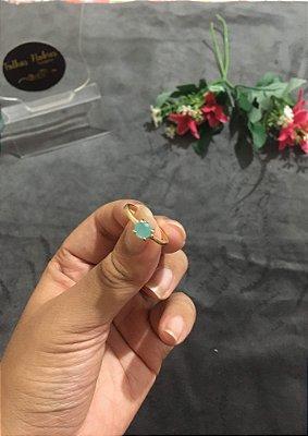 Solitário pedra verde água