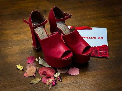 Sandália Plataforma Vermelha Lança Perfume 12CM