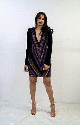 Vestido Lança Perfume Decote Em v Com Bordado Frente