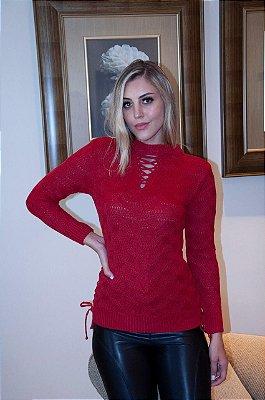 Blusa cordão decote e lateral Vermelha