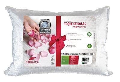 Travesserio Toque de Rosas Fibra Plumax Lávavel - Fibrasca