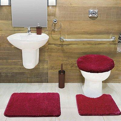 Jogo Tapete de Banheiro 3 Peças Volpi - Vermelho -  Jolitex