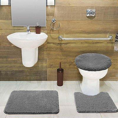 Jogo Tapete de Banheiro 3 Peças Volpi - Prata - Jolitex