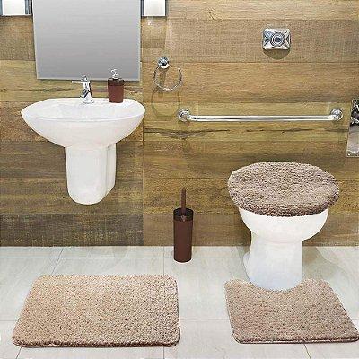Jogo Tapete de Banheiro 3 Peças Volpi - Bege - Jolitex
