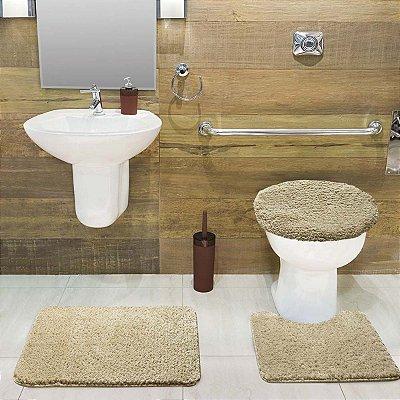 Jogo Tapete de Banheiro 3 Peças Volpi - Palha - Jolitex