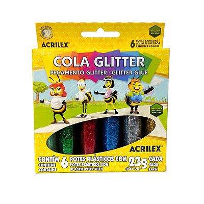 Cola Glitter Com 6 Cores - Acrilex