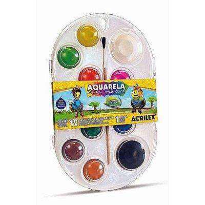 Aquarelas em pastilhas com 12 cores Acrilex
