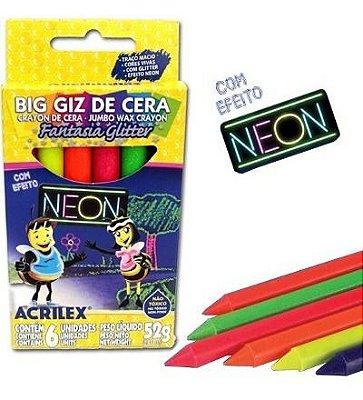Lapis De Cera Fino Big Gis Neon Gliter 52g 6cores Acrilex Pct.C/06