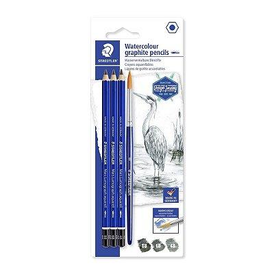 Lápis Grafite Aquarelável Staedtler Com Pincel 004 Un 100a Sbk4