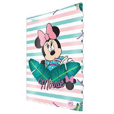 Pasta aba com elástico tamanho ofício, em estampa da Minnie Mouse Teen. Dimensões: 332mmX232mm.