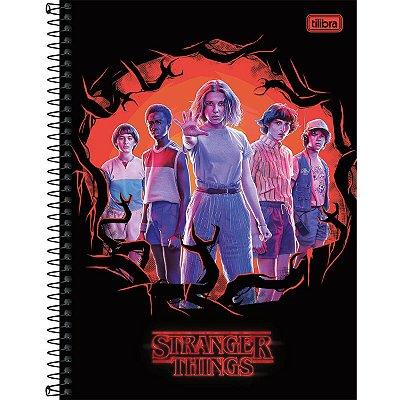 Caderno Espiral Capa Dura Universitário 10 Matérias Stranger Things 160 Folhas