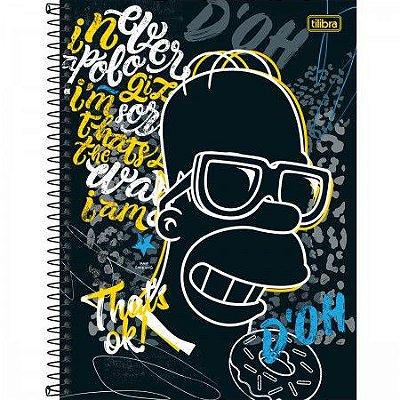 Caderno Espiral Capa Dura Universitário 1 Matéria Simpsons 80 Folhas
