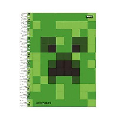 Caderno Minecraft c/ 10 Matérias - Capa Dura - Verde