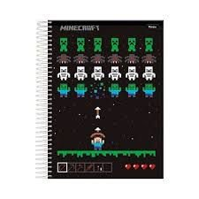 Caderno Minecraft c/ 1 Matéria - Capa Dura - Game