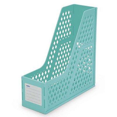 Porta Revista Organizador Plástico Azul Turquesa Waleu
