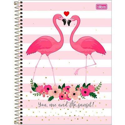 Caderno Espiral Univ. Capa Dura 10 Matérias 160 Fls Aloha 02 -  flamingo Tilibra