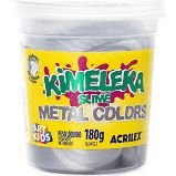 Slime Cores Metalico Kimeleka Acrilex Lavável Pote 180gr Prata