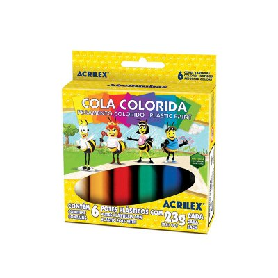 Cola colorida 23g c/06 cores Acrilex