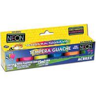 Tinta Tempera Guache Acrilex neon 6 cores 15ml