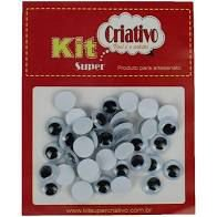 Olhos Móveis Criativo 12mm Kit c/ 40 Unid