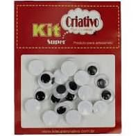 Olhos Móveis Criativo 8mm Kit c/ 40 Unid