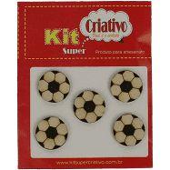 Botões Divertidos Kit Super Criativo Bola de Futebol PT c/ 5 Unidades