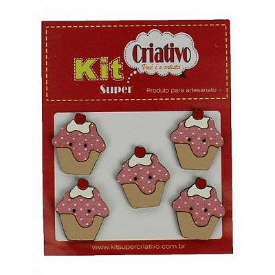 Botões Divertidos Kit Super Criativo Cupcake Morango Regular PT c/ 5 Unidades