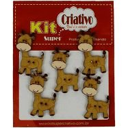 Botões Divertidos Kit Super Criativo Girafa Regular PT c/ 5 Unidades