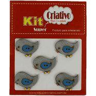 Botões Divertidos Kit Super Criativo Passarinho Baby Azul Regular PT c/ 5 Unidades