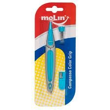 Compasso Escolar Plástico Molin Color Grip Azul r preciso e resistente, com design ultra moderno. Acompanha apontador e grafites para reposição