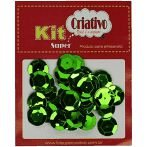 Super Lantejoula Verde Claro Kit Super Criativo 14mm PT c/ 10 grs