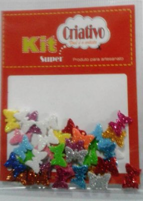 Aplique Super Criativo Borboleta Kit Criativo Regular PT c/ 36 Unidades