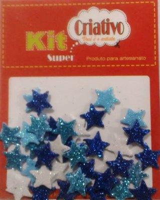 Aplique Super Brilho Estrela Kit Criativo Regular PT c/ 36 Unidades