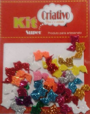 Aplique Super Brilho Gato Kit Super Criativo Regular PT c/ 36 Unidades