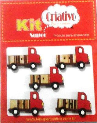 Botões Divertidos Kit Super Criativo Caminhão Vermelho PT c/ 05 Unidades
