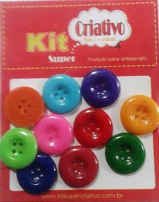 Botões Coloridos 20mm Kit Super Criativo PT c/ 10 Unidades