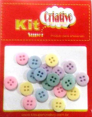 Botões Coloridos Tons Pastéis 11mm Kit Super Criativo PT c/ 20 Unidades