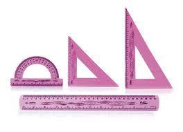 Régua Conjunto Kit Escolar Flexivel 4 peças rosa ref.10130014 Waleu