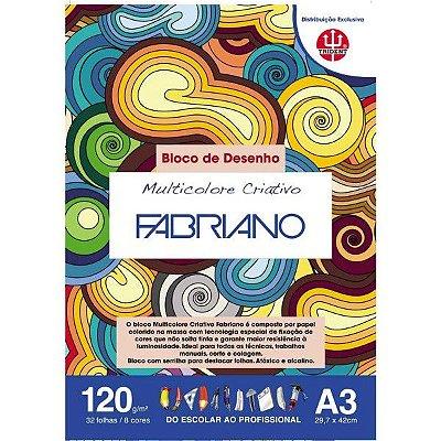Bloco Multicolorido Criativo 120 G/m² A-3 29,7 X 42 Cm Com 32 Folhas 8 Cores Trident