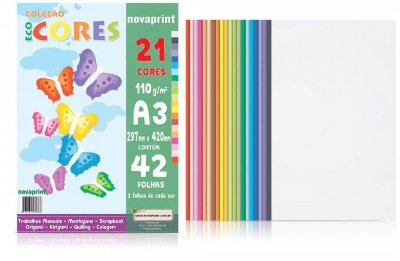 Bloco EcoCores A3 21 cores 42 folhas 110g Novaprint