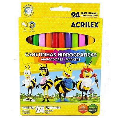 Caneta Hidrográfica 24 Cores - Acrilex